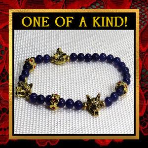 Golden Wolf & Purple Agate Bracelet #495